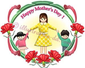 飾り枠のママと子どもたち|母の日のイラスト