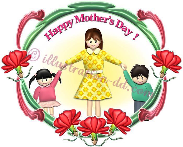 ママと子どもたち|母の日のイラスト