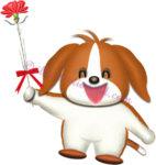 カーネーションを持つ犬|母の日のイラスト