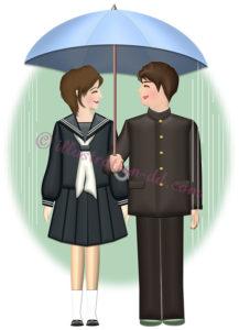 相合い傘の高校生のイラスト