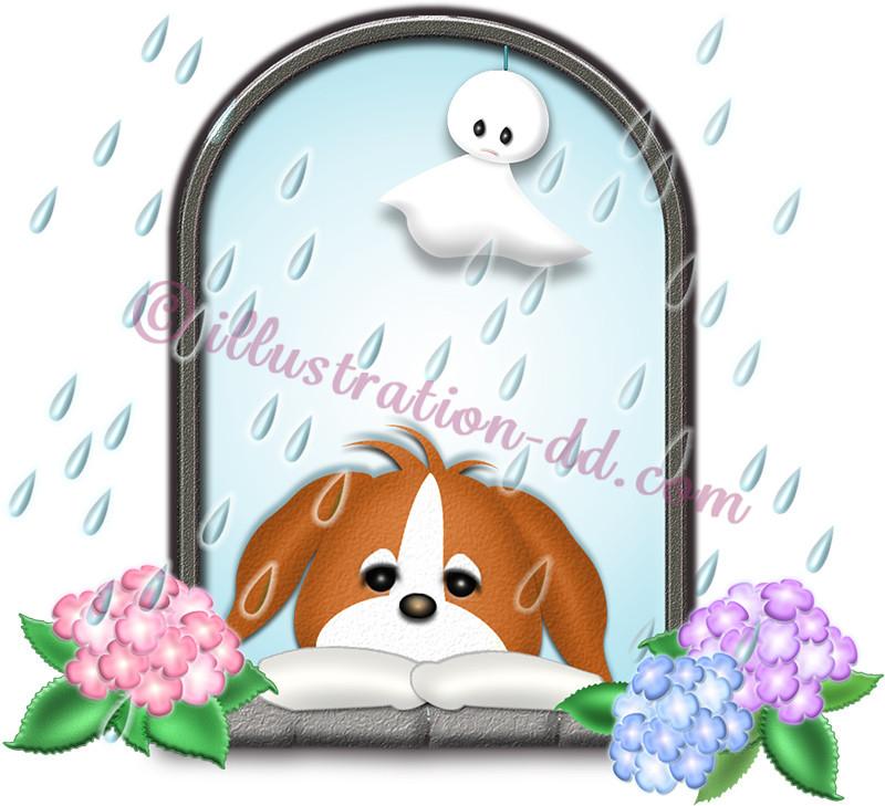 梅雨のテルテル坊主と犬のイラスト