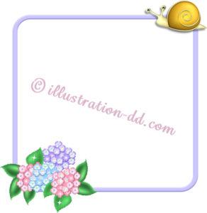 梅雨の飾り枠(紫陽花とかたつむり)のイラスト