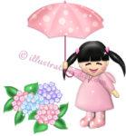 紫陽花(あじさい)と少女のイラスト