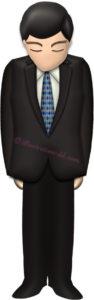 お辞儀するスーツの男性のイラスト