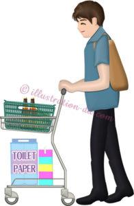 ショッピングカートを押して買い物する男性のイラスト