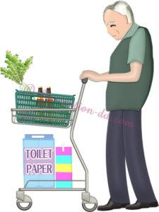 ショッピングカートを押して買い物するお爺さんのイラスト