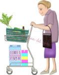 ショッピングカートを押して買い物するお婆さんのイラスト