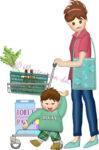 ショッピングカートを押して買い物する子連れママのイラスト
