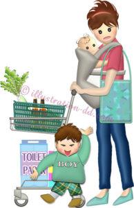 赤ちゃんを抱いてショッピングカートを押す子連れママのイラスト