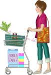 ショッピングカートを押して買い物する女性のイラスト