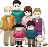 マスクをした3世代家族と犬のイラスト