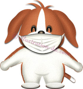 マスクをしたビーグル犬のイラスト
