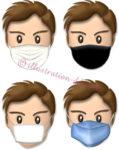 4種類のマスク顔・男性のイラスト