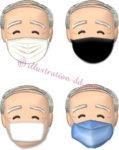 4種類のマスク顔・おじいさんのイラスト