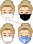 4種類のマスク顔・おばあさんのイラスト