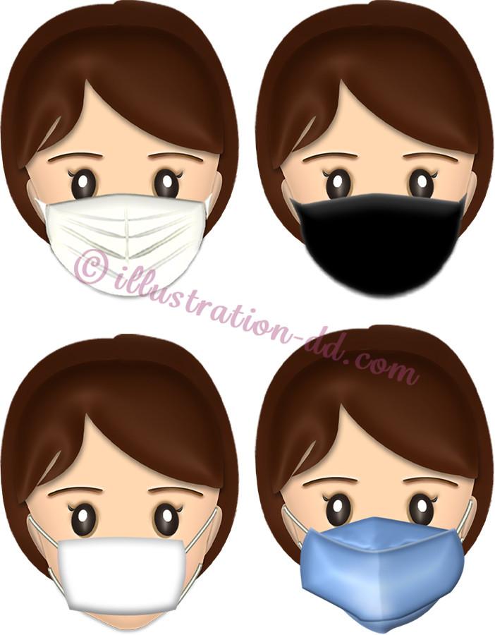 4種類のマスク顔・女性のイラスト