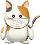 マスクをした三毛猫のイラスト