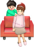 ママの肩を叩く男の子|母の日のイラスト