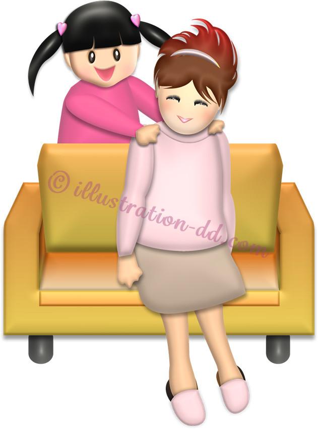 ママの肩を叩く女の子|母の日のイラスト