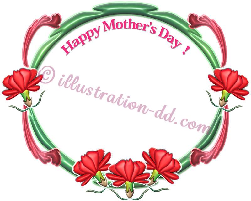 カーネーションの飾り枠1 母の日のイラスト