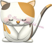 お辞儀する三毛猫のイラスト
