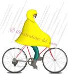 梅雨にポンチョで自転車のイラスト
