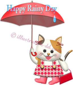 雨の日にお出かけする猫のイラスト