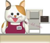 三毛猫キャラの店長さんのイラスト