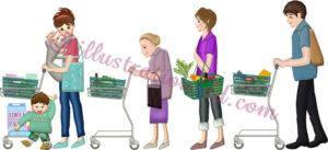 レジに並ぶ買い物客の列のイラスト