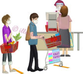 間隔を空けてレジに並ぶ買い物客たちのイラスト