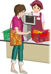 レジ打ちするスタッフと買い物客のイラスト