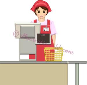 レジに立つスーパーやコンビニの女性店員のイラスト