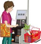 セミセルフレジの精算機を使う女性のイラスト