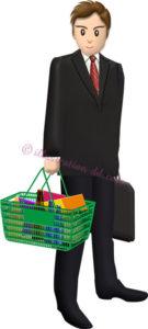 会社帰りにスーパーで買い物するビジネスマンのイラスト