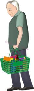 スーパーのカゴを持って買い物するお爺さんのイラスト