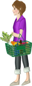 スーパーのカゴを持って買い物する女性のイラスト