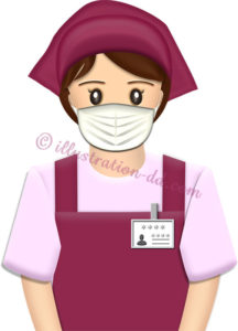 マスクを付けた女性店員のイラスト