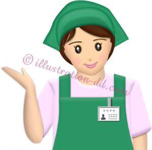 スーパーやコンビニの女性店員・ご案内ポーズ(緑エプロン)のイラスト