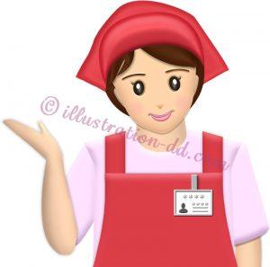 スーパーやコンビニの女性店員・ご案内ポーズ(赤エプロン)のイラスト
