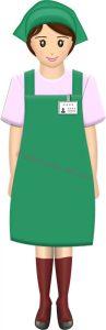 立ってるスーパーやコンビニの女性店員・全身(緑エプロン)のイラスト
