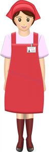 立ってるスーパーやコンビニの女性店員・全身(赤エプロン)のイラスト