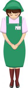 お辞儀するスーパーやコンビニの女性店員・全身(緑エプロン)のイラスト