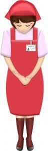 お辞儀するスーパーやコンビニの女性店員・全身(赤エプロン)のイラスト