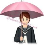 傘をさす女子高生のイラスト