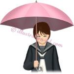 泣きながら傘をさす女子高生のイラスト