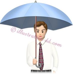 傘をさす会社員のイラスト