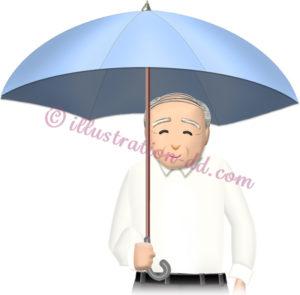 傘をさすお爺さんのイラスト