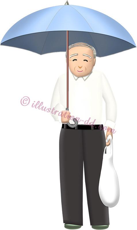 傘をさしてスーパーの袋を持つお爺さんのイラスト