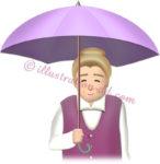 傘をさすお婆さんのイラスト