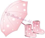 開いたピンクの傘と長靴のイラスト